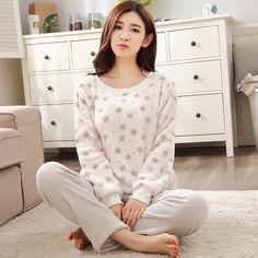 Women Gift Adult Flannel Pajamas Sets mujer Adults Cartoon Thick Warm Women Pyjama Sets Sleepwear For Ladies Female Nightwear