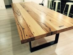 How to Glue Boards Together For a Table Top Wooden Kitchen Cabinets, Kitchen Cabinet Design, Timber Dining Table, Reclaimed Wood Table Top, Dining Room, Wood Tables, Dining Tables, Timber Benchtop, West Facing House