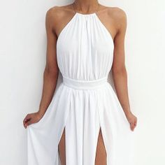 white summer dress with double front slits