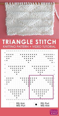Knitting Chart of the Triangle Knit Stitch Pattern with Studio Knit. Get your free knitting pattern and chart. charts free How to Knit the Triangle Knit Stitch Pattern by Studio Knit Knitting Stiches, Knitting Charts, Easy Knitting, Knitting For Beginners, Loom Knitting, Knitting Patterns Free, Stitch Patterns, Crochet Patterns, Free Pattern