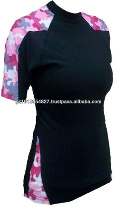 Pink Camo Short Sleeve Rash Guard very good designs for girls
