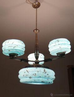 ANTIGUA LAMPARA ART DECO - LATON Y OPALINA AZUL JASPEADA - 1930,S - VINTAGE - estalcon@gmail.com