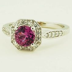 18K White Gold Sapphire Victorian Halo Ring - Set with a 6.0mm Round Pink Sri Lanka Sapphire #BrilliantEarth