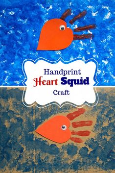 Handprint Heart Squid Craft for Kids My Little Me