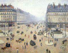 Авеню л Опера. Площадь Французского Театра. Туманный день. Камиль Писсарро