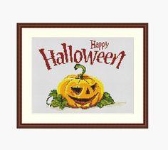 Halloween pumpkin Halloween cross stitch by StitcheryStitch