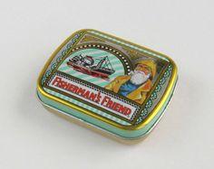 Vintage Fisherman's Friend Tin boat ship by EnglishCountryHome Fishermans Friend, Pin Box, Mint Green, Yellow, Metal Box, Tin, Nautical, Zip Around Wallet, Boat