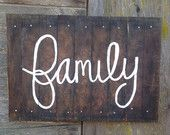 Reclaimed wood Hand painted- Barn wood Canvas Family Sign
