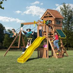 Bring the playground to your backyard with this entertaining fort play set. With two swings, a trapeze and rings combo bar, a climbing wall and a wavy slide this set provides hours of active outdoor f