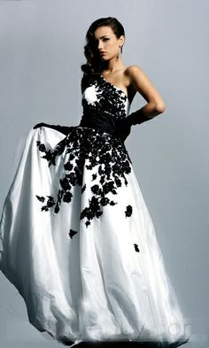 Embroidery One Shoulder Taffeta White Evening Dress