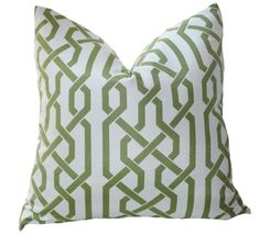 Decorative+Pillow+Cover++Green+and+Ivory+Geometric+by+MotifPillows