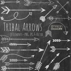 Chalk Tribal Arrows Clipart - Hand Drawn Chalkboard Arrow Clip Art - Chalk Arrows Commercial and Personal Use Instant Download