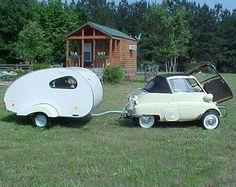 Lets hit the road! Car and camper for midgets???? LOL