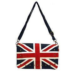 British Flag Purse Shoulder Bag Cocktail Red, White & Blue Faux Leather Handbag #Leema #ShoulderBag