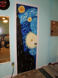 Hand-painted Starry Night on my door! This girl is seriously creative., , Hand-painted Starry Night on my door! This girl is seriously creative. Painted Bedroom Doors, Art Room Doors, Painted Doors, Cute Room Decor, Room Wall Decor, Cool Dorm Rooms, Bedroom Art, Quirky Bedroom, Earthy Bedroom