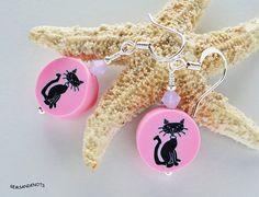 Mod Black Cat Pink Polymer Clay Dangle Earrings by gemsandknots, $7.99