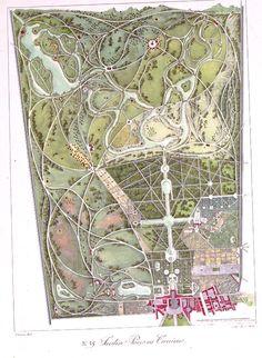 """Versailles """"Jardin Parcs ou Carrières"""",    Charles Motte after Gabriel Thouin.   Hand-colored lithograph   from Plans raisonnés de toutes les espèces de jardins, 1819-1820 Via http://sciweb.nybg.org/science2/Onlinexhibits/exhbtcata.html"""