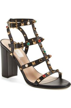 4bd9414998 Valentino  Vitello  Studded Sandal (Women) available at  Nordstrom Black  Chunky Heels