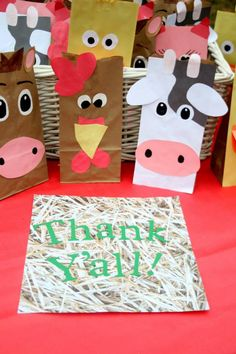 Farm animal goody bags made from brown paper bags and construction paper. They were a hit with the guests!