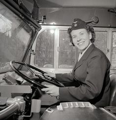 Margit Claesson, first female bus driver for Stockholm's public transport, 1958.