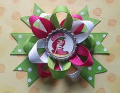 Strawberry shortcake hair bow also available for by bellecaps, $4.75
