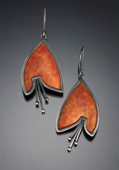 Marcia Meyers: Bellflower I, Earrings of cloisonne enamel on fine and sterling silver, 14k and 18k gold, with sterling silver backs. Approx. 2 1/4 long.