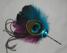 Peacock Hair Bobby Hair Accessories Bridal by BittysJewelryAndMore, $22.00