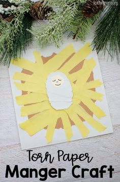 Create this torn paper manger craft with just a few supplies! This is an easy craft and a great way to work on fine motor skills. Christmas Activities For Kids, Preschool Christmas, Christmas Diy, Kid Activities, Christmas Cookies, Xmas, White Construction Paper, Paper Art, Paper Crafts