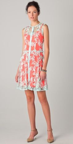 Love the lace and color mix on this Nanette Lepore dress