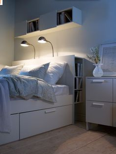 IKEA bedroom-love the idea of shelves behind headborad and underbed…