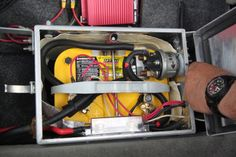 Always great to see OPTIMA YELLOWTOP batteries correctly mounted in a sealed battery box, which is properly-vented to the outside air!