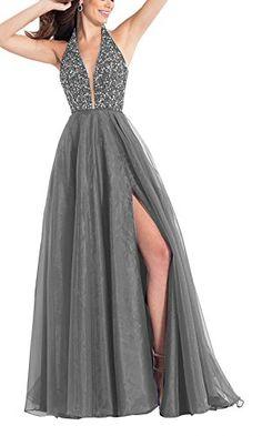Sexy Deep V Neck Beaded A-Line Split Side Backless Long Satin Prom Dress  Evening Gown Size 8 Grey 4dea632583dd