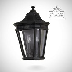 Buy Cotswold half wall lantern in Black, Outdoor Wall Lights - The classic styling of the Cotswold collection features the look of architectural moulding at the top of each pane of clear...