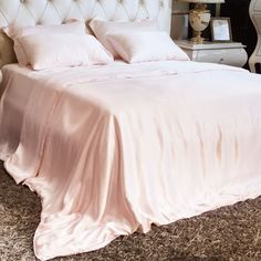 Light Pink Luxury Silk Sheet Sets A07 #silk #bedding #bedroom