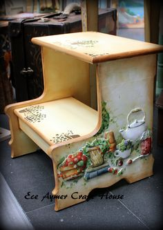 eceaymer.com Decopage Furniture, Funky Painted Furniture, Painted Chairs, Diy Furniture, Furniture Design, Tole Painting, Painting On Wood, Ikea Stool, Country Paintings