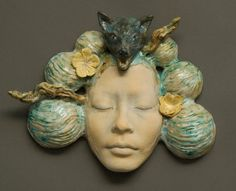 Natasha Dikareva ARTISTIC STATEMENT As an artist, I am poised between two worlds; one is the tangible reality I experience on . Porcelain Jewelry, Fine Porcelain, Porcelain Ceramics, Ceramic Pottery, Painted Porcelain, Hand Painted, Porcelain Insulator, Ceramic Mask, Paperclay