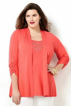 EMB RUCHED SLEEVE 2FER, Peach