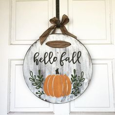 Your place to buy and sell all things handmade Fall Door Hanger, Hello Fall Door Hanger, Wood Door Hanger, Round Wood Door Hanger, Autumn Door Hang Fall Door Hangers, Wooden Door Hangers, Rustic Doors, Wood Doors, Door Hanger Printing, Fall Wood Signs, Fall Signs, Wood Wreath, Wood Circles