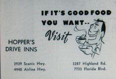 Hopper's Drive Inns Advertising late 1960