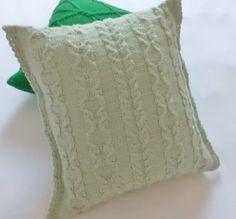 Cable knit pillow cover aqua hand knit pillow by Adorablewares