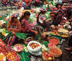 Street Market in Chichicastenango, Guatemala. Chichicastenango is a town in the Guatemalan highlands, northwest of Guatemala City. It's known for its open-air craft market and indigenous Maya culture. (V)