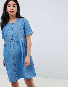b723fcab39 DESIGN Maternity denim smock dress in midwash. Asos ...