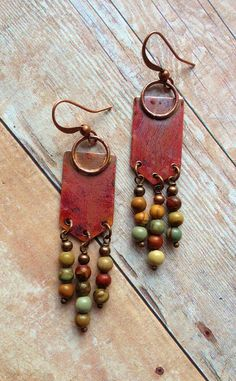Boho Jewelry, Unique Earrings, Boho Copper Earrings with Colorful Natural Stones - Earrings Jewelry Copper Earrings, Unique Earrings, Leather Earrings, Copper Jewelry, Leather Jewelry, Wire Jewelry, Earrings Handmade, Jewelry Crafts, Beaded Jewelry