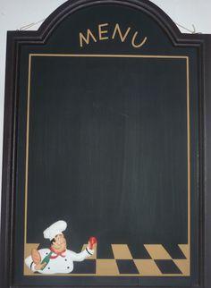 FAT CHEF MENU CHALKBOARD~WALL HANGING MESSAGE BOARD~ITALIAN KITCHEN DECOR~WINE