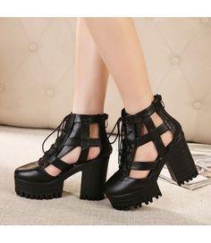 lack Leather Platform Lace-Up Cut-Out Strap Sandal Boots