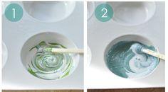 mix paint and medium steps