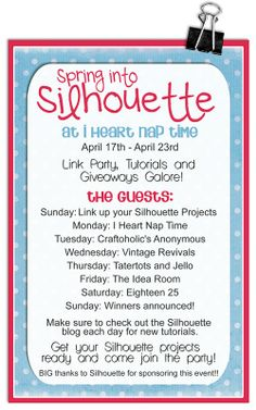 Lots and Lots of ideas using the Silhouette linky party