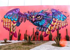 Street art in Mexico . Owl painted by Farid Rueda street artist based in Mexico