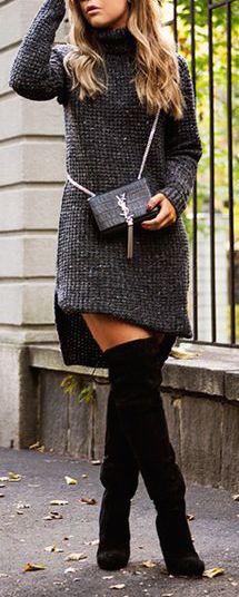 fall-fashion-gray-sweater-dress