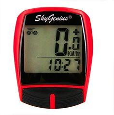 SkyGenius Drahtloser Fahrradcomputer, wasserdichter Multifunktions-Fahrradtacho, Fahrrad-Kilometerz�hler, Schrittz�hler, Speicherung der Fahrgeschwindigkeit/Entfernung/max. Geschwindigkeit/durchschnittliche Geschwindigkeit/Zeit mit 1-Zoll-LCD-Bildschirm f�r Stra�enr�der/Mountainbikes